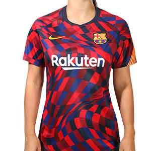 Camiseta mujer Nike Barcelona pre-match 2020 2021 - Camiseta pre partido de mujer del FC Barcelona 2020 2021 - azulgrana - frontal