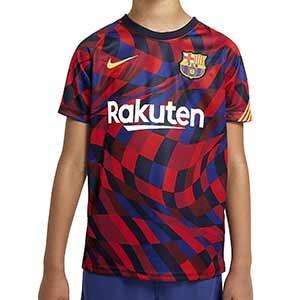 Camiseta niño Nike Barcelona pre-match 2020 2021 - Camiseta pre partido infantil del FC Barcelona 2020 2021 - azulgrana - frontal