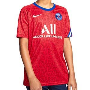 Camiseta Nike PSG niño pre-match 2020 2021 - Camiseta de calentamiento pre partido infantil del Paris Saint-Germain 2020 2021 - roja - frontal