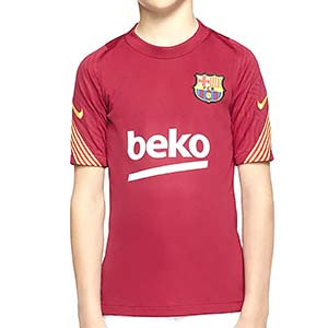 Camiseta Nike Barcelona niño entreno 2020 2021 Strike - Camiseta de entrenamiento infantil Nike del FC Barcelona 2020 2021 - roja - miniatura