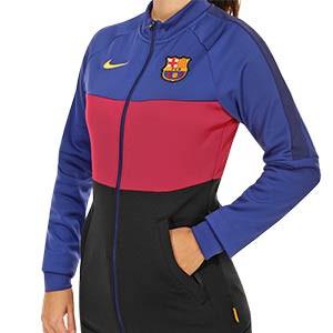 Chaqueta Nike Barcelona mujer I96 himno 2020 2021 - Chaqueta chándal himno mujer Nike FC Barcelona 2020 2021 - azulgrana y negro - frontal