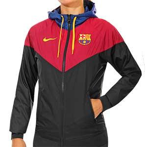 Cortavientos Nike Barcelona mujer Windrunner - Cortavientos de mujer Nike del FC Barcelona 2020 2021 - negro y rojo - frontal