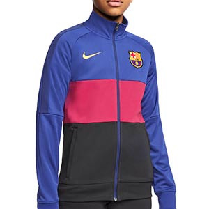 Chaqueta Nike Barcelona niño I96 himno 2020 2021 - Chaqueta chándal himno infantil Nike FC Barcelona 2020 2021 - azulgrana y negro - miniatura