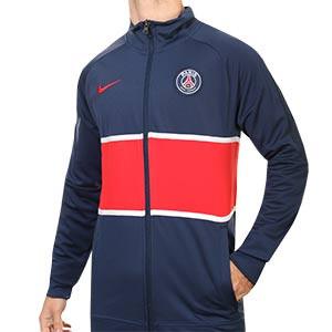 Chaqueta Nike PSG I96 himno 2020 2021 - Chaqueta chándal himno Nike Paris Saint-Germain 2020 2021 - azul marino y roja - frontal