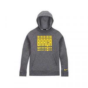 Sudadera Nike Barcelona niño Fleece Hoodie - Sudadera con capucha infantil de algodón del FC Barcelona - gris - frontal