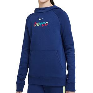 Sudadera Nike Barcelona niño Fleece Hoodie - Sudadera con capucha infantil de algodón del FC Barcelona - azul marino - frontal
