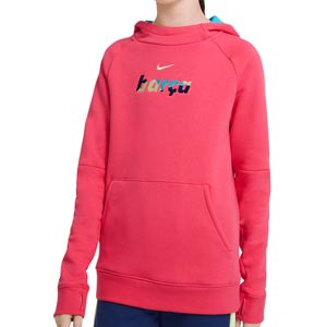 Sudadera Nike Barcelona niño Fleece Hoodie - Sudadera con capucha infantil de algodón del FC Barcelona - rosa - frontal