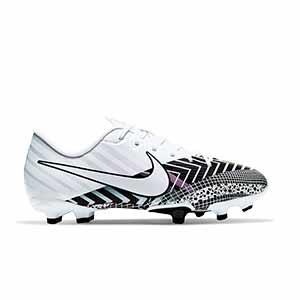 Nike Mercurial Jr Vapor 13 Academy MDS FG/MG - Botas de fútbol infantiles Nike MG para césped artificial - blancas y negras - pie derecho