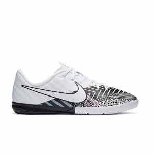 Nike Mercurial Jr Vapor 13 Academy MDS IC - Zapatillas fútbol sala infantiles Nike suela lisa IC - blancas y negras - pie derecho