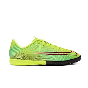 Nike Mercurial Vapor 13 Academy MDS 2 IC Jr - Zapatillas de fútbol sala para niño Nike suela lisa IC - amarillas y verdes - derecho