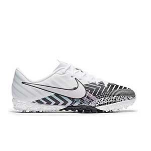 Nike Mercurial Jr Vapor 13 Academy MDS TF - Zapatillas multitaco infantiles Nike suela turf - blancas y negras - pie derecho