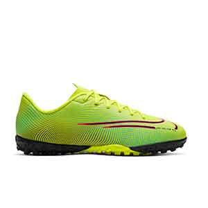 Nike Mercurial Vapor 13 Academy MDS 2 TF Jr - Zapatillas de fútbol multitaco para niño Nike suela turf - amarillas y verdes - derecho