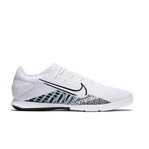Nike Mercurial Vapor 13 Pro MDS IC - Zapatillas de fútbol sala Nike suela lisa IC - blancas y negras - pie derecho
