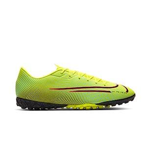 Nike Mercurial Vapor 13 Academy MDS 2 TF Jr - Zapatillas de fútbol multitaco Nike suela turf - amarillas y verdes - derecho