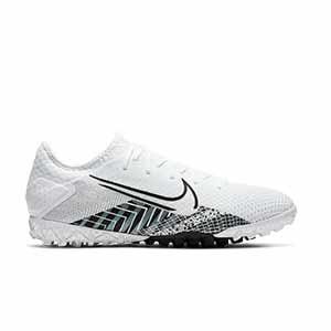 Nike Mercurial Vapor 13 Pro MDS TF - Zapatillas de fútbol multitaco Nike suela turf - blancas y negras - pie derecho