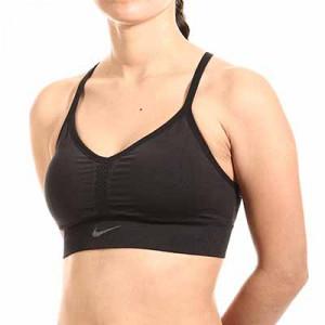Sujetador deportivo Nike Dri-Fit Indy Seamless - Top deportivo sin costuras Nike de mujer para fútbol - negro - miniatura frontal