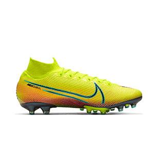 Nike Mercurial Superfly 7 Elite MDS 2 AG-PRO - Botas de fútbol con tobillera Nike AG-PRO para césped artificial - amarillas y verdes - derecho