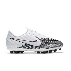 Nike Mercurial Jr Vapor 13 Academy MDS AG - Botas de fútbol infantiles Nike AG para césped artificial - blancas y negras - pie derecho