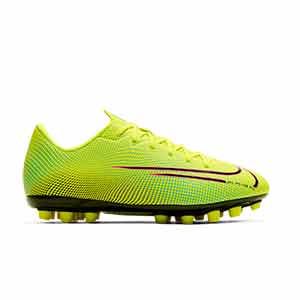 Nike Mercurial Vapor 13 Academy MDS 2 AG Jr - Botas de fútbol para niño Nike AG para césped artificial - amarillas y verdes - derecho