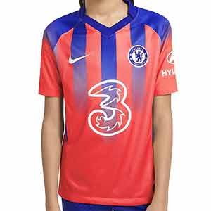 Camiseta Nike 3a Chelsea niño 2020 2021 Stadium - Camiseta infantil tercera equipación Nike Chelsea FC 2020 2021 - naranja rosado y azul - frontal