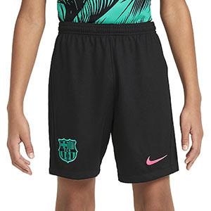 Short Nike 3a Barcelona niño 2020 2021 Stadium - Pantalón corto infantil tercera equipación Nike FC Barcelona 2020 2021 - negro - frontal