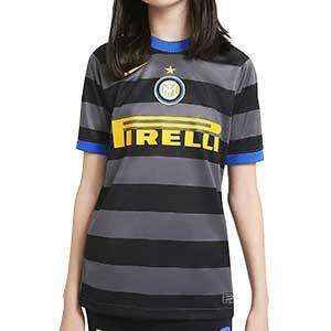 Camiseta Nike 3a Inter niño 2020 2021 Stadium - Camiseta infantil tercera equipación Nike Inter de Milan 2020 2021 - gris y negra - frontal