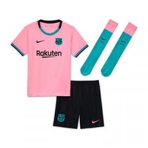 Equipación Nike 3a Barcelona niño 3 - 8 años 2020 2021 - Conjunto infantil 3-8 años tercera equipación Nike FC Barcelona 2020 2021 - rosa y negro - frontal