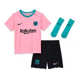 Equipación Nike 3a Barcelona bebé 3 - 36 meses 20 2021 - Kit bebé 0-36 meses tercera equipación Nike FC Barcelona 2020 2021 - rosa y negro - frontal