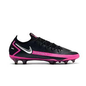 Nike Phantom GT Elite FG - Botas de fútbol Nike FG para césped natural o artificial de última generación - negras y rosas - pie derecho