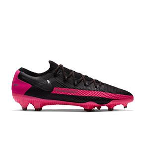 Nike Phantom GT Pro FG - Botas de fútbol Nike FG para césped natural o artificial de última generación - negras y rosas - pie derecho