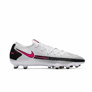 Nike Phantom GT Pro AG-PRO - Botas de fútbol Nike AG-PRO para césped artificial - blancas y rosas - pie derecho