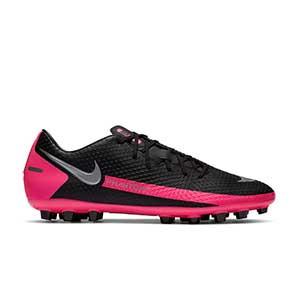 Nike Phantom GT Academy AG - Botas de fútbol Nike AG para césped artificial - negras y rosas - pie derecho