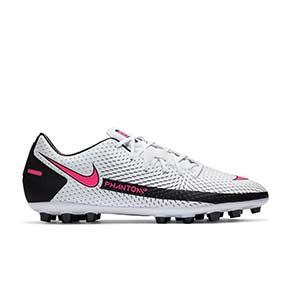 Nike Phantom GT Academy AG - Botas de fútbol Nike AG para césped artificial - blancas y rosas - pie derecho