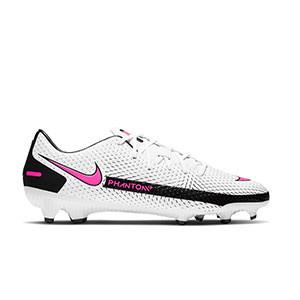 Nike Phantom GT Academy FG/MG - Botas de fútbol Nike FG/MG para césped artificial - blancas y rosas - pie derecho