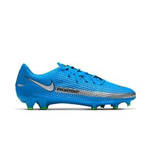 Nike Phantom GT Academy FG/MG - Botas de fútbol Nike FG/MG para césped artificial - azules, plateadas, verdes, negras - pie derecho