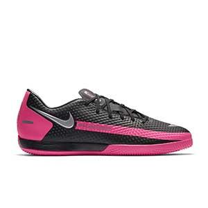 Nike Phantom GT Academy IC - Zapatillas de fútbol sala suela lisa IC - negras y rosas - pie derecho