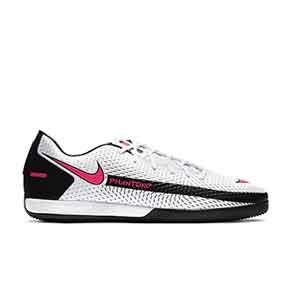 Nike Phantom GT Academy IC - Zapatillas de fútbol sala suela lisa IC - blancas y rosas - pie derecho