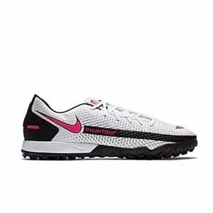 Nike Phantom GT Academy TF - Zapatillas de fútbol multitaco Nike Football suela turf - blancas y rosas - derecho