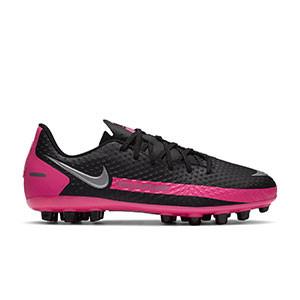 Nike Phantom GT Academy AG Jr - Botas de fútbol infantiles Nike AG para césped artificial - negras y rosas - derecho