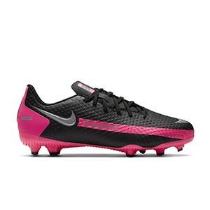 Nike Phantom GT Academy FG/MG Jr - Botas de fútbol infantiles Nike FG/MG para césped artificial - negras y rosas - pie derecho