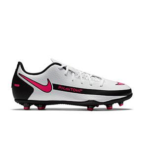 Nike Phantom GT Club FG/MG Jr - Botas de fútbol infantiles Nike FG/MG para césped artificial - blancas y rosas - pie derecho