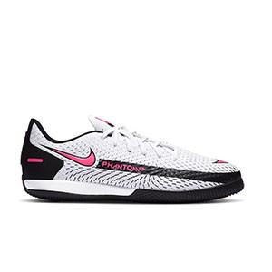 Nike Phantom GT Academy IC Jr - Zapatillas de fútbol sala infantiles Nike suela lisa IN - blancas y rosas - pie derecho