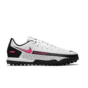 Nike Phantom GT Academy TF Jr - Zapatillas de fútbol multitaco infantiles Nike suela turf - blancas y rosas - pie derecho