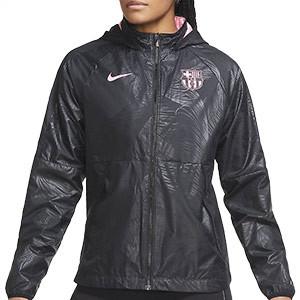 Cortavientos Nike Barcelona mujer UCL 2020 2021 All Weather - Cortavientos de mujer Nike del FC Barcelona de la Champions League 2020 2021 - verde y negro - frontal