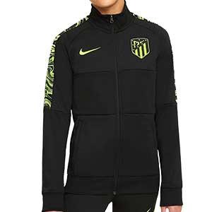 Chaqueta Nike Atlético niño himno UCL 2020 2021 - Chaqueta chándal del himno infantil Nike Atlético de Madrid Champions League 2020 2021 - negra - frontal