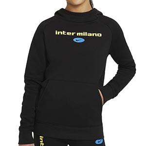 Sudadera Nike Inter niño Fleece Hoodie - Sudadera con capucha infantil de algodón del Inter de Milán - negra - frontal