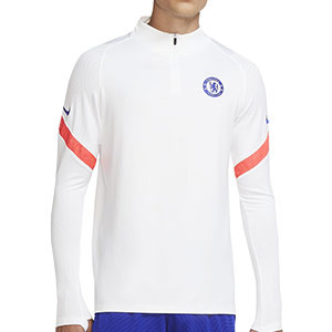 Sudadera Nike Chelsea entreno UCL 2020 2021 Strike - Sudadera de entrenamiento Nike Chelsea FC de la Champions League 2020 2021 - blanca - frontal