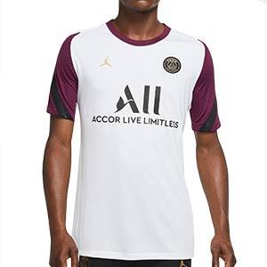 Camiseta Nike PSG entreno UCL 2020 2021 Strike - Camiseta de entrenamiento Nike del Paris Saint-Germain de Champions League 2020 2021 - blanca y morada - frontal