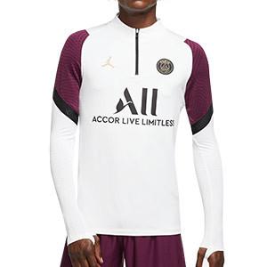 Sudadera Nike PSG entreno UCL 2020 2021 Strike - Sudadera de entrenamiento Nike del Paris Saint Germain Champions League 2020 2021 - blanca y morada - frontal