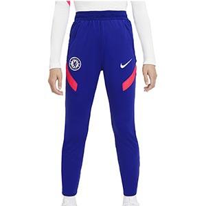 Pantalón Nike Chelsea niño entreno UCL 2020 2021 Strike - Pantalón largo infantil de entrenamiento Nike del Chelsea FC de la Champions League 2020 2021 - azul - frontal